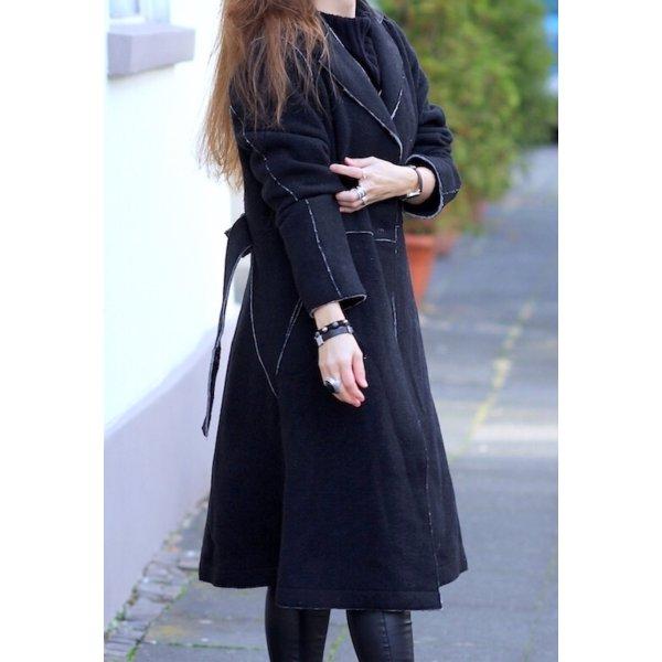 Designer Mantel aus 80% Wolle schwarz von eve in paradise Gr. 36 Neu
