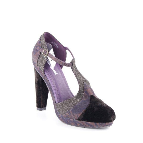 Desigual Zapatos de tacón con barra en T marrón-negro-color bronce