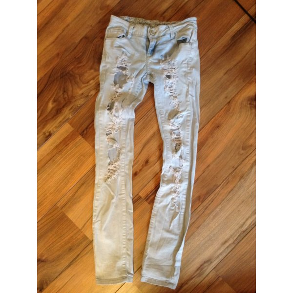 destroyed jeans 34 36 stretch l cher risse hell wei slim. Black Bedroom Furniture Sets. Home Design Ideas