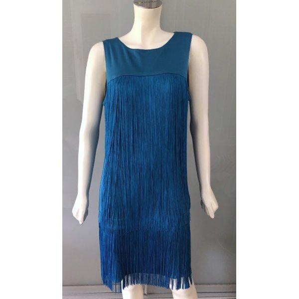Details zu  ISSA Etui Kleid Fransen Türkis Blau Seide 42 L Charleston Gatsby Dress Fringed