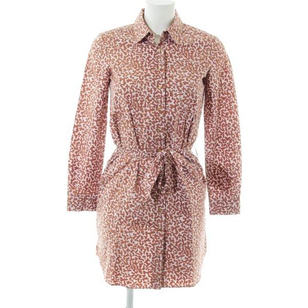 Diane von Furstenberg Blusenkleid braun-wollweiß Allover-Druck Casual-Look