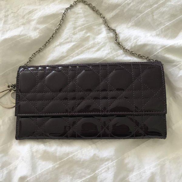 DIOR Lady Dior WOC Clutch Brieftasche Lackleder Aubergine