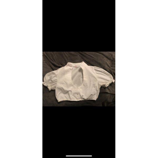 Dirndl Bluse in weiß mit Spitzenborte