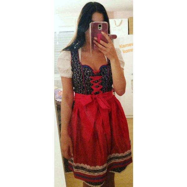 Dirndl Oktoberfest blau weiß rot XS 34 Kleid Schnürung 3 teilig Schürze Bluse