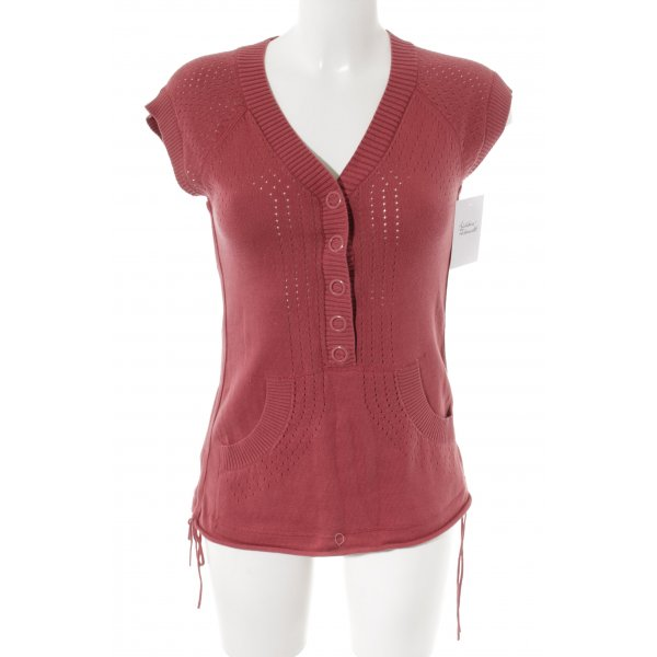 DKNY Jeans Knitted Top brick red loosely knitted pattern casual look