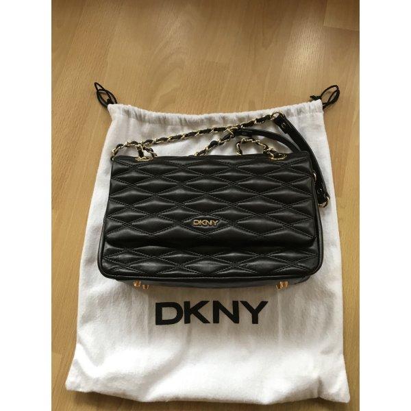 DKNY Shoulder Bag Black/Gold Lammleder, gesteppt