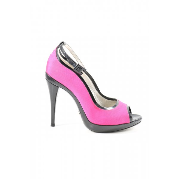 Dolce & Gabbana Czółenka z odsłoniętym palcem różowy-czarny Elegancki