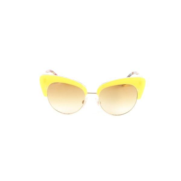 Dolce & Gabbana runde Sonnenbrille dunkelgelb extravaganter Stil