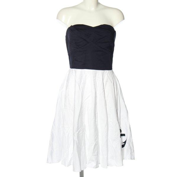 Dolly and Dotty schulterfreies Kleid weiß-schwarz Motivdruck Casual-Look