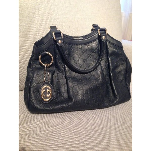 Gucci Carry Bag dark blue-cream leather