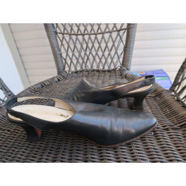 Dunkelblaue Slingback-Pumps aus wunderbar weichem Leder in 37