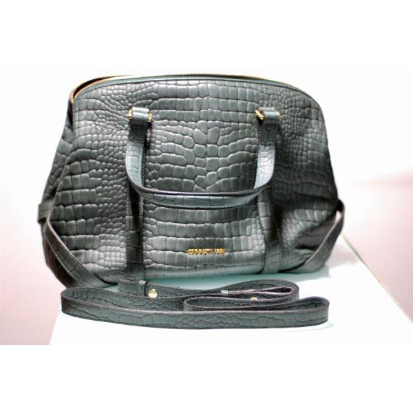 Dunkelgrüne Handtasche im Animalprint