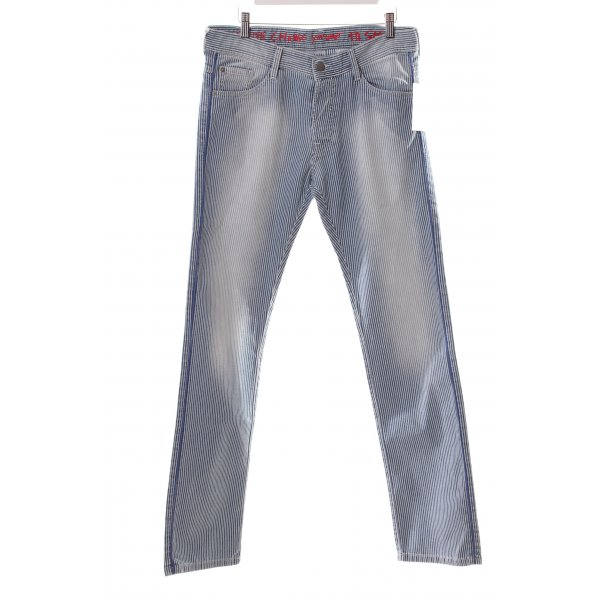 Each & Other Five-Pocket-Hose stahlblau-weiß Streifenmuster schlichter Stil