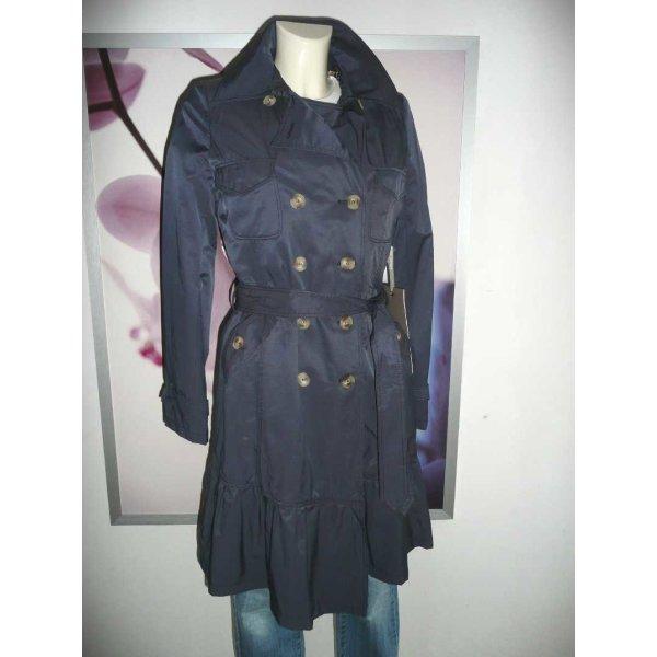 Easy Comfort femininer Trench Coat Mantel mit Kapuze Blau