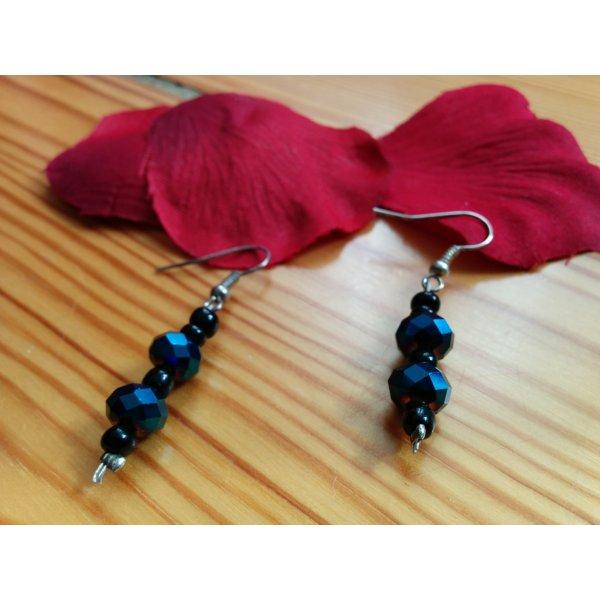 Edle Ohrhänger Glitzer Glasperlen schwarz nachtblau aus Mexiko NEU