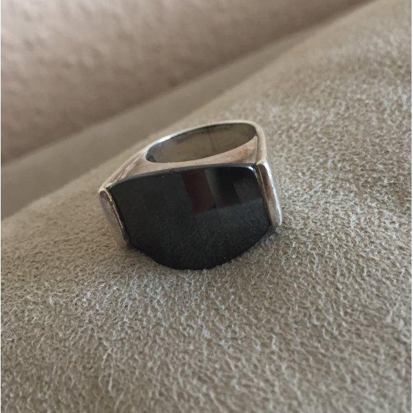 Edler Silberring mit schwarzem Stein von #Christ  Gr. 52