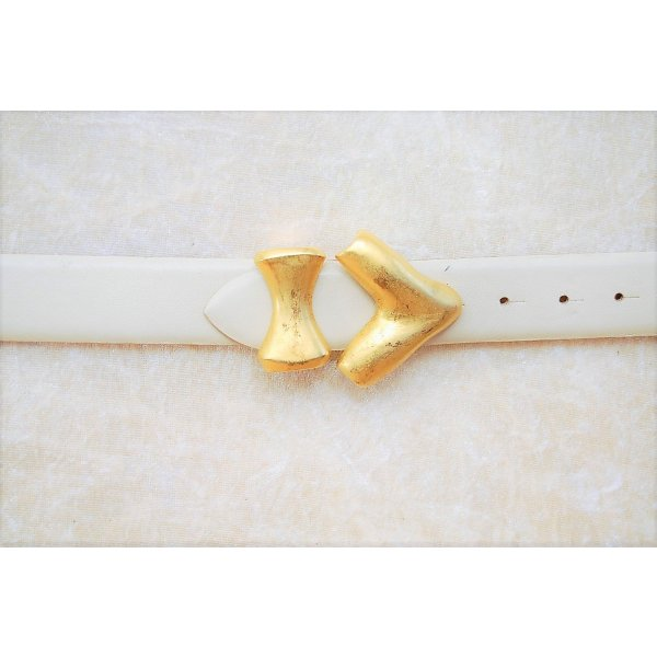 Vintage Leather Belt cream-gold-colored leather