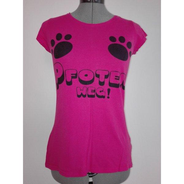 Ein kurzärmel T-Shirt,in pink Farbe,aus Baumwolle mit coole Muster drauf