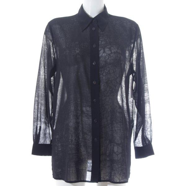 Einhorn Langarm-Bluse schwarz Transparenz-Optik