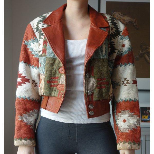 Einzigartige Vintage Lederjacke kurze Bomberjacke Azteken Muster Made in USA Gr. M