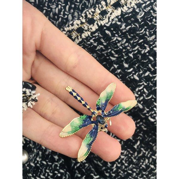 Elegante Brosche blaue Libelle gold Emaille Vintage