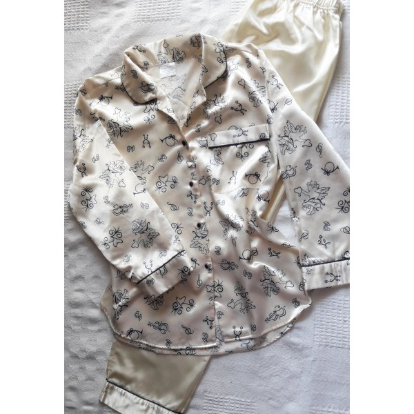Pijama blanco puro-azul oscuro tejido mezclado