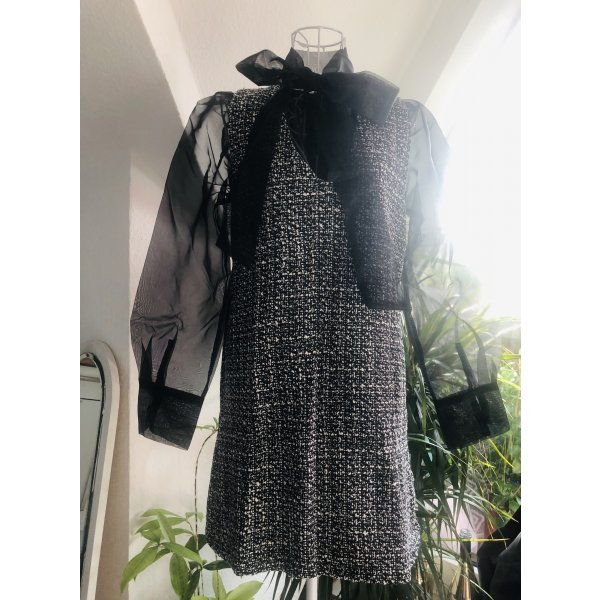 Blousejurk zwart-wit Polyester
