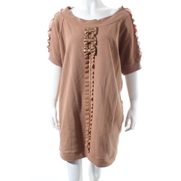 Elisabetta Franchi Vestido de tela de sudadera marrón claro