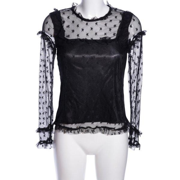 Elli White Spitzenbluse schwarz Motivdruck Elegant