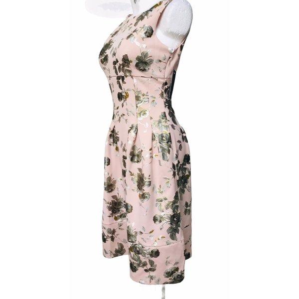 En Focus Damen Sommer Kleid Blumen silber metallic glänzend S
