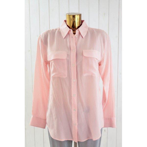 EQUIPMENT Damen Bluse Seide Langarm Gestreift Weiß Orange Lässig Gr.S