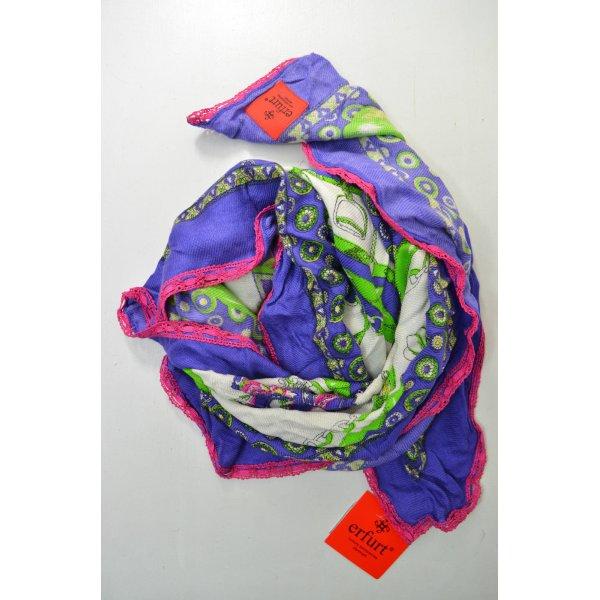 ERFURT LUXURY Tuch Schal Accessoires Lila Weiß Grün Pink Print Viskose Mod. 3471