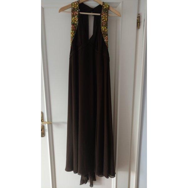 ESCADA Designer Kleid Seide braun mit eleganten Steinen, Gr 36