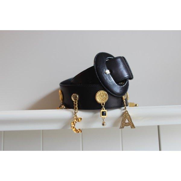 Escada Cinturón de cadena negro-color oro Cuero
