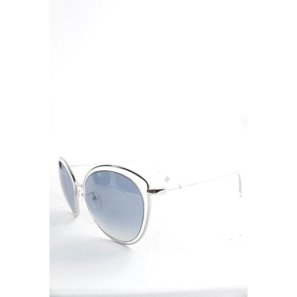 Escada Retro Brille silberfarben-blassblau Glanz-Optik
