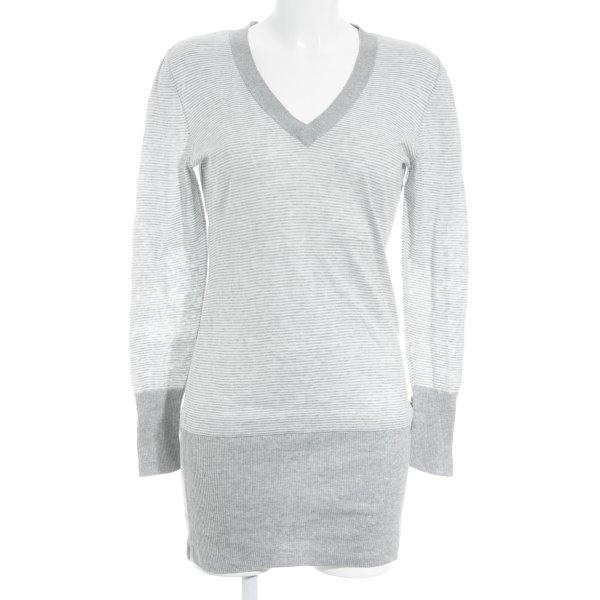 Escada Shirtkleid hellgrau-weiß Streifenmuster Casual-Look