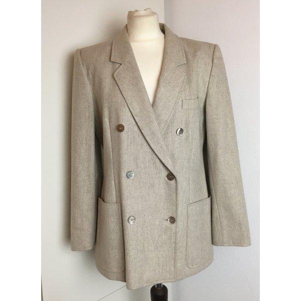 * ESCADA * zwei reihiger Boyfriend Blazer100%  Wolle hell grau - beige - Vintage - Gr 40 L