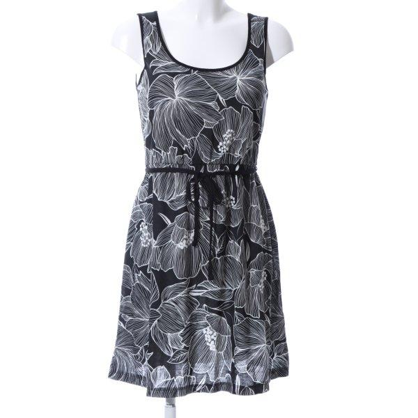 Esmara Jerseykleid schwarz-weiß Blumenmuster Casual-Look