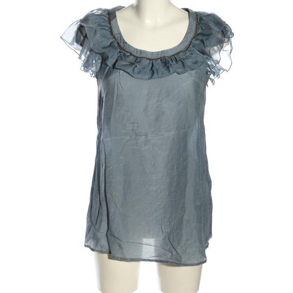 esprit collection Rüschen-Bluse blau Casual-Look