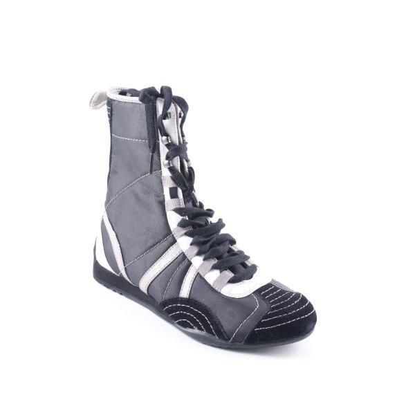 Esprit Schnürstiefel schwarz-graubraun Streifenmuster Casual-Look