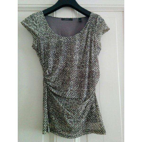 Esprit Shirt Oberteil Zweilagig Mesh Netz Grau sexy Gr. S