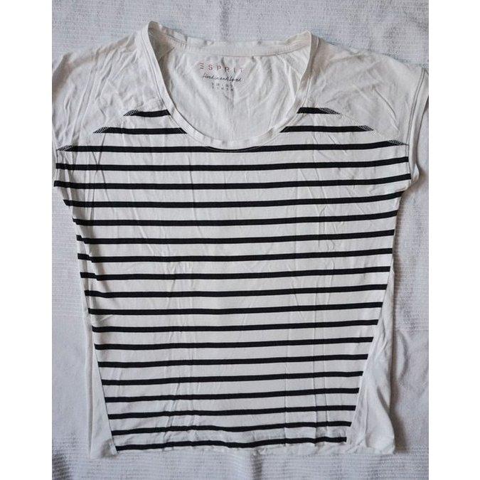 Esprit Gestreept shirt wolwit-zwart