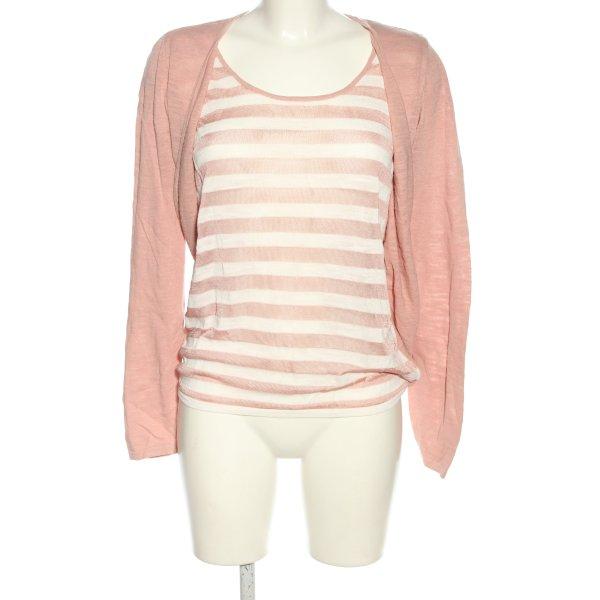 Esprit Strick Twin Set pink-weiß Streifenmuster Casual-Look