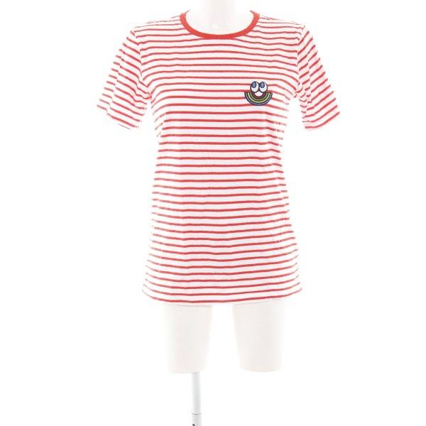 Esprit T-Shirt weiß-hellrot Streifenmuster Casual-Look