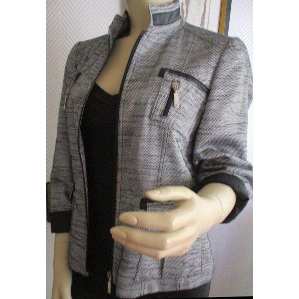 EUGEN KLEIN Jacke Blazer hochwertig! Tweed schwarz weiß Brusttaschen & aufgesetzte Taschen Leder Applikationen Kunstleder Reißverschluss vorn Gr. 38 40 M