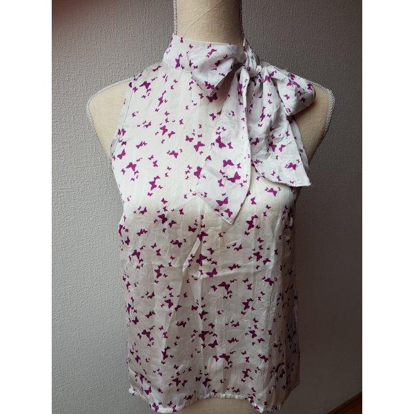 Extravagante Bluse in weiß/lila mit Schleife; Gr. S