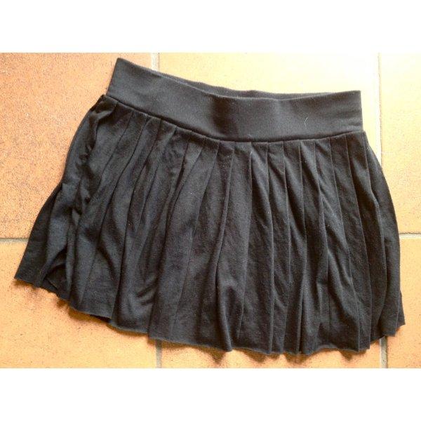 Faltenrock H&M Baumwolle Minirock schwarz