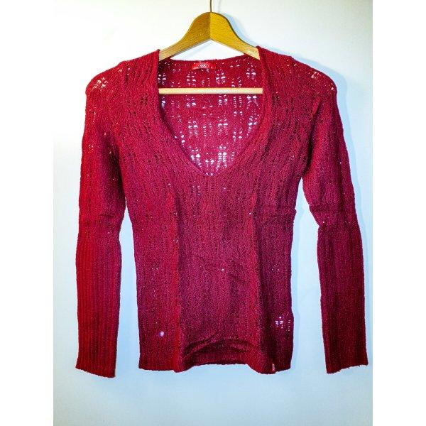 feiner, leichter Stretch V-Pullover in dunkelrosa/pink