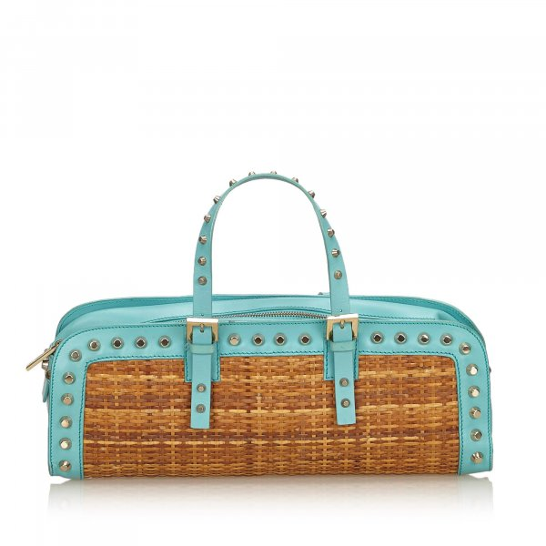 Fendi Studded Rattan Handbag