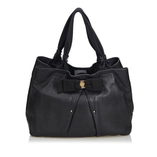 Ferragamo Vara Leather Bow Hobo Bag